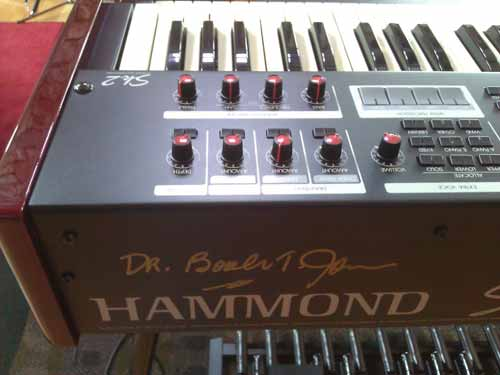 Dr. Booker T. Jones signed the SAI Hammond organ.