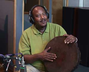 Sileshi on Ethiopian drums.